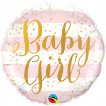 "Baby Girl Stripes Foil Balloon (9"" Air-Fill) 1pc"